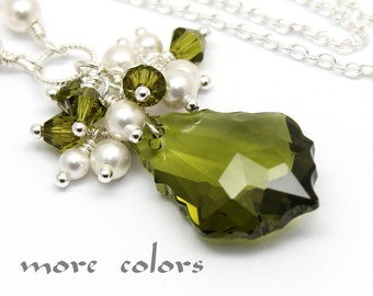 Olivine Green Necklace,Choose Color,White Pearl Baroque Swarovski Crystal Sterling Silver,Bridesmaids Bridal Jewelry Amethyst Blue Violet