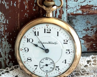 Antique Hampden 1914 Pocket Watch by avintageobsession on etsy...20% Discount
