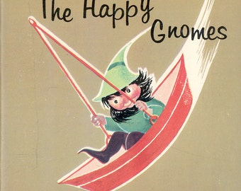 Golden Book The Happy Gnomes by Maggy Larissa Nans van Leeuwen Vintage Children's Book Wee Folk, FS3A-G17-Gnomes