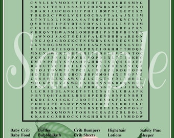 Baby Shower Printable Game Pea Pod Word Find Large