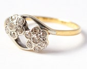 Diamond Engagement Rings: Art Deco Double Daisy 18K Gold, Size 8