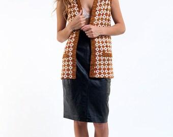 The Vintage Orange Geo Print Knit Vest