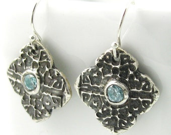 Silver Blue Zircon Earrings Genuine Gemstone Jewelry Silver Mehndi Earrings