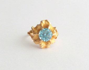 Antique Art Nouveau Ring. Blue Zircon.
