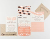 Wedding Invitation, Fiesta Papel Picado Banner Wedding Collection, Spanish Themed Wedding as featured by New Mexico Wedding Magazine