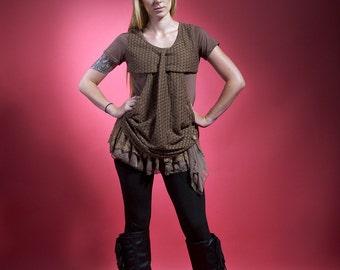 "Tunic brown lace "" TELL OF AUTUMN "" bohémian romantic"