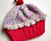 Cupcake Hat with Cherry on Top Raspberry Watermelon Cake Lavender Purple Frosting with Sprinkles Children Baby Toddler handmade hand knit