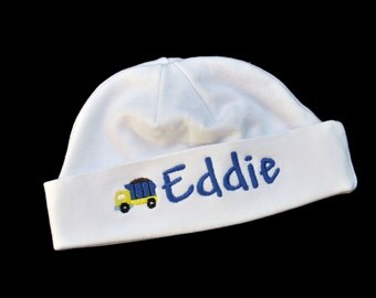 Dump Truck Baby Beanie Hat - Personalized Baby Hat - Baby Hat with Truck - Newborn Truck Hat - Truck Hat with Name - Hospital Hat - Baby Boy