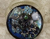 Decorated Glass Ring Box w Peacock, Hand Painted Embellished Jewelry Box, Beaded Jewelry Trinket  Ring Holder, Cosme