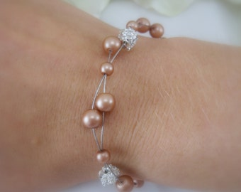 Floating Pearls with Rhinestones Bracelet for your Bridesmaids-Pick your color