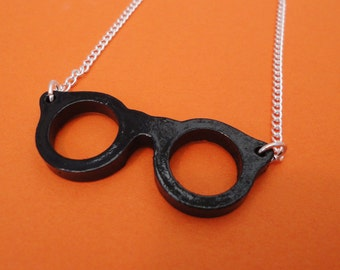 Black Geek Chic Glasses Necklace