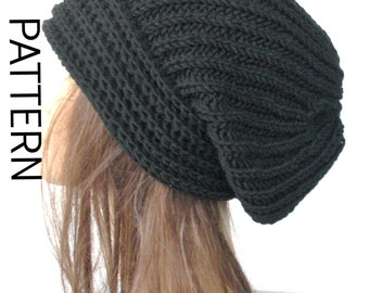 Knitting Brioche Stitch Hat : Instant Download Knit hat pattern- Digital Hat Knitting PATTERN PDF - Brioche...
