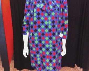 SALE 1980s Pauline Trigere harlequin print silk shift dress sz 14