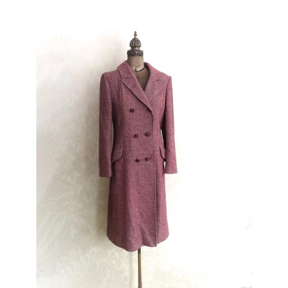 Vintage 1970s Purple Tweed Coat by Miss Lynne International