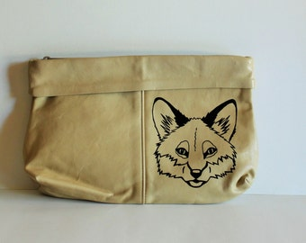Christmas / Gift for Her / Painted Purse / Vintage Purse / Vintage Clutch / Fox / Vintage Fox / Painted Fox / One-of-a-Kind