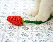 Cat Toy Catnip,  Crochet Strawberry (1 pair)