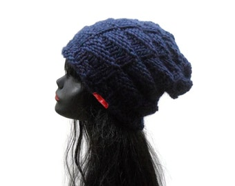 Navy Blue Wool Knit Hat - Nordic Island Beanie