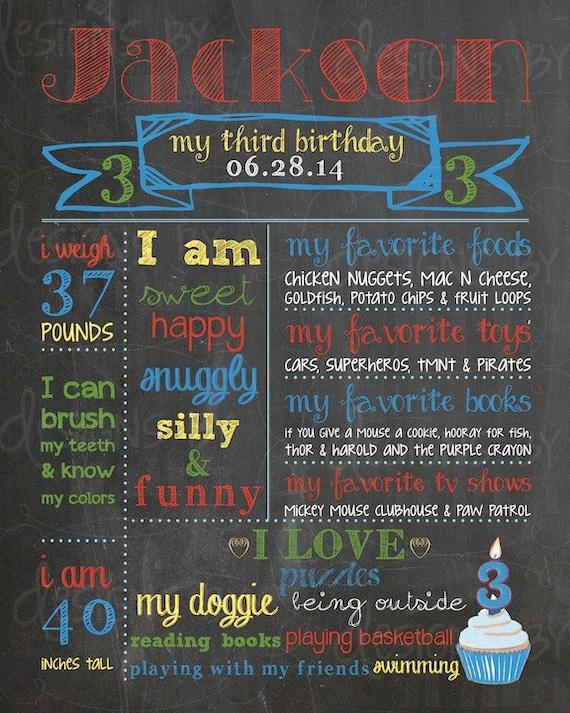 3rd Birthday Chalkboard Poster Sign Boy Paw Patrol Lego