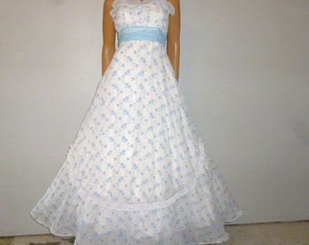 True BLUE - Vintage 50's - Baby BLUE - Embroidered Floral - Full Circle - Big Bow - Ball - Prom - Maxi - Gown - Dress -  Bust 28""