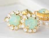Chrysolite Opal Swarovski Crystals Framed with White Opal Halo Crystals on Gold Post Earrings, Halo Stud Earrings