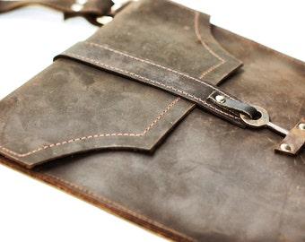 Brown Leather Messenger Bag - Distressed Leather Satchel - Skeleton Key Antique Hardware Steampunk Boho Bag