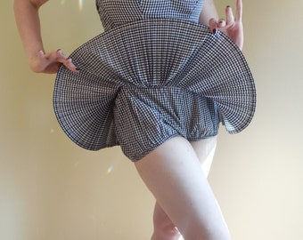 Vintage Romper, Catalina, One Piece, 1950s ,Cotton Gingham, Playsuit ,swimsuit,
