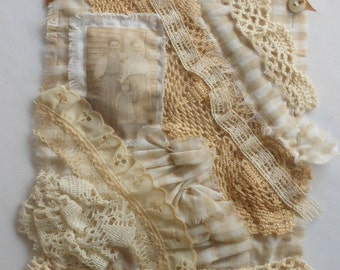 Tonal Neutrals Vintage Fabric and Lace Collage, Handstiched Decoration, Wall Decor, Cottage Chic Decoration