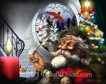 Digital Santa Christmas - Print - INSTANT DOWNLOAD