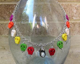 Treasure Keeper Necklace - Rainbow Skully