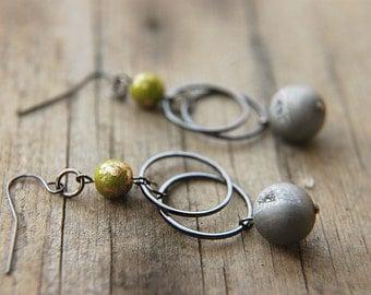 Druzy Dangle Earrings Czech Glass Beaded Hoops  - The Green Planet.