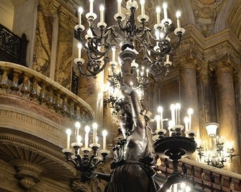 Paris Photography, Opera House Chandeliers, Paris Opera Statues, Sparkling Chandeliers, Paris Opera Ladie Statues, Paris Chandelier Prints