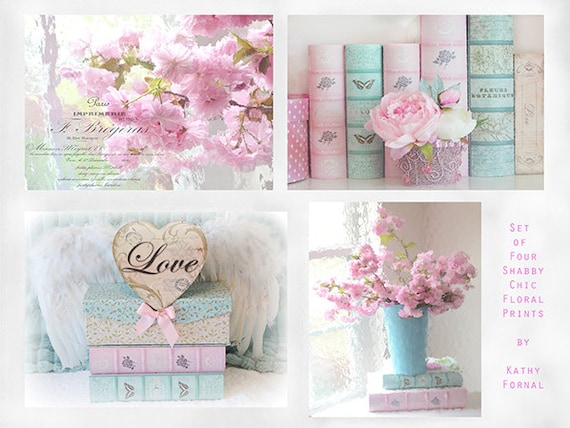 shabby chic decor flower photographs pink aqua floral. Black Bedroom Furniture Sets. Home Design Ideas