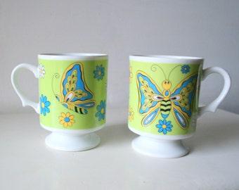 Vintage Butterfly Mug Set