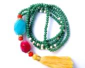 Colorful Tassel necklace, Bohemian yogi necklace, gemstone mala, healing necklace, Agate mala, long beaded necklace