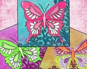 Whimsical Butterflies Digital Collage Sheet -  3.8x3.8 Printable download Coasters Greeting cards Gift tags - UPrint jpg