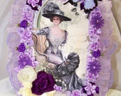 Victorian Lady, Purple, Violet, Wall Decor, Gifts for Her, Mothers Day Gift, Birthday Gift, Home Decor, Whimsy, Romantic, French Lady,