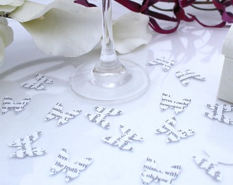 Custom wedding confetti paper butterfly- 200 personalized white die cut small punched butterflies 2cm by 2cm Great romantic table decoration