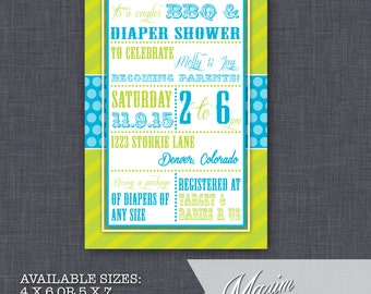 DIY Printable Invitation - Printable Vintage Boys Baby Shower Invitation, BBQ Baby Shower, Party Invitation....by Maxim Creative Invites