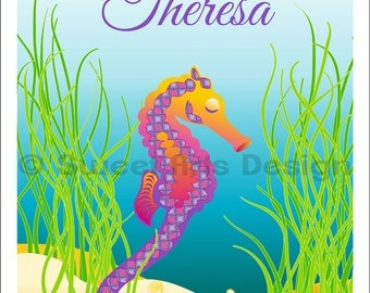 Seahorse Purple  -  Wall Print  (or)  Greeting Cards
