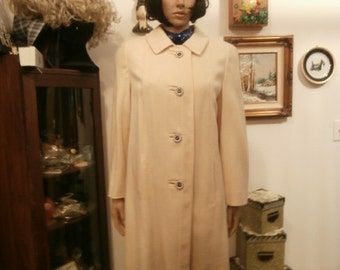 Womens Coat: Ivory Winter White Tweed Pea Coat Union Made Womens Jacket Mod ~ Clean / Retro