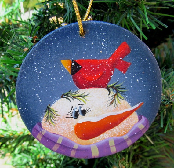 Items similar to Snowman and Cardinal Christmas Ornament ...
