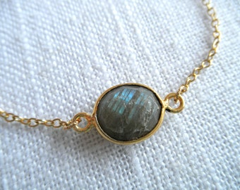 Labradorite bracelet - gold bracelet - K A T E 271