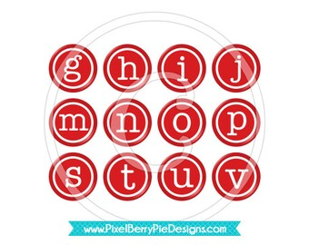 Cherry Red Vintage Typewriter Keys, 1 inch Digital Collage Sheet (CU friendly) Retro Round Circles, Printable Graphics Instant Download