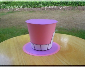 Alice In Wonderland Top Hat Centerpiece - Color Printable PDF- Cheshire Cat - PR