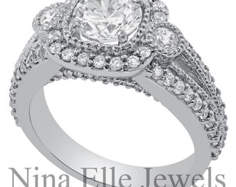 Round Cut Antique Style Diamond Engagement Ring with Cushion Halo & Milgrain AR134