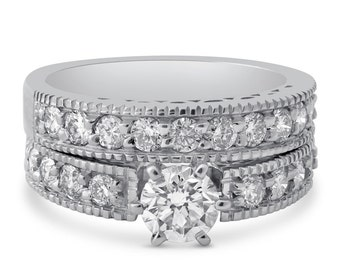 Round cut antique style diamond engagement ring and band with filigree & milgrain accents R206S6