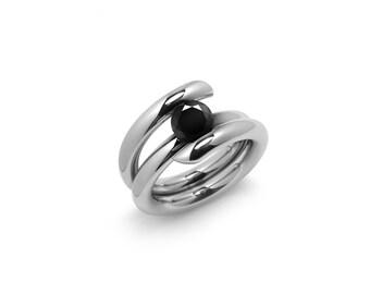 High Tension Set Black Diamond Ring in Stainless Steel