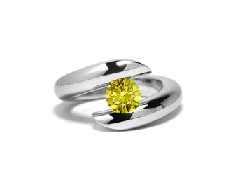 Yellow Sapphire Ring Tension Set in Stainless Steel