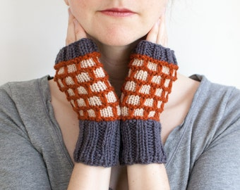 Hand Knit Fingerless Mittens in Gray, Burnt Orange, and Cream Wool, Rip Rap Mittens (A04)