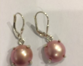 """Mabe Pink Pearl Earrings for Breast Cancer Awareness """"pinktober"""" on Sterling Silver Leverbacks"""